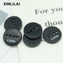 11.5mm 100pcs Round Black Buttons Resin Handmade Four Holes DIY Shirt Bottons For Clothing Accessories Wholesale apparel
