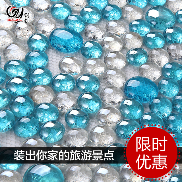 Ciel bleu perles de verre de cristal mosa que salle de for Toile de verre salle de bain