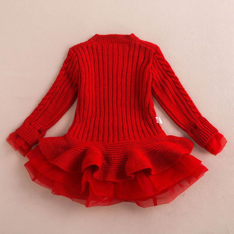 12838b3073d4 Thick Warm Girl Dress Christmas Wedding Party Dresses Knitted ...