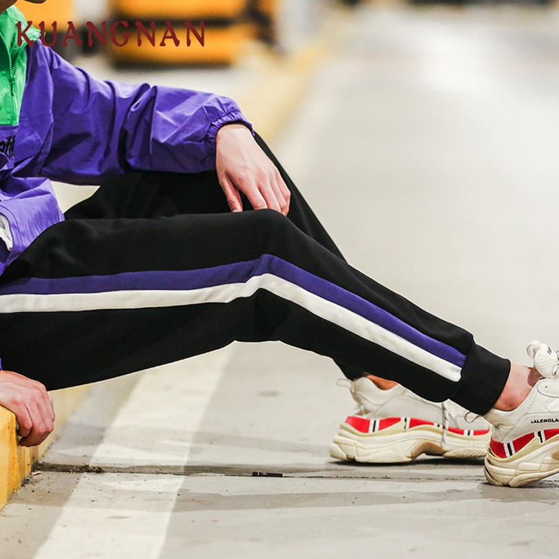 KUANGNAN Men Japanese Streetwear Harem-Pants Joggers Casual Hip-Hop Ankle-Length