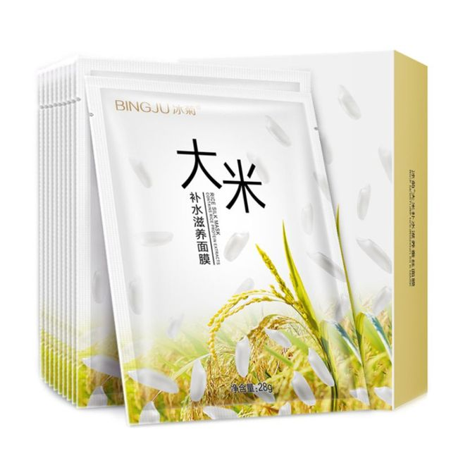 10 unids/caja sedoso arroz blanqueamiento belleza esencia máscara Facial profunda hidratante nutritiva hoja cosméticos ilumina el cuidado de la piel
