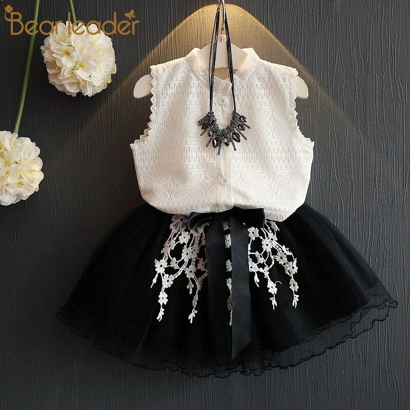 Bear leader/платье для девочек коллекция 2018 года, Повседневная летняя стильная одежда для девочек белая кружевная футболка без рукавов + платье д...