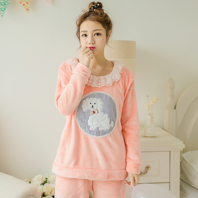 55354a6d470 Winter Coral Thicken Pregnant Home Clothes Maternity Nursing Pajamas  Pregnancy Home Clothing Lactation Clothes Cartoon Sets