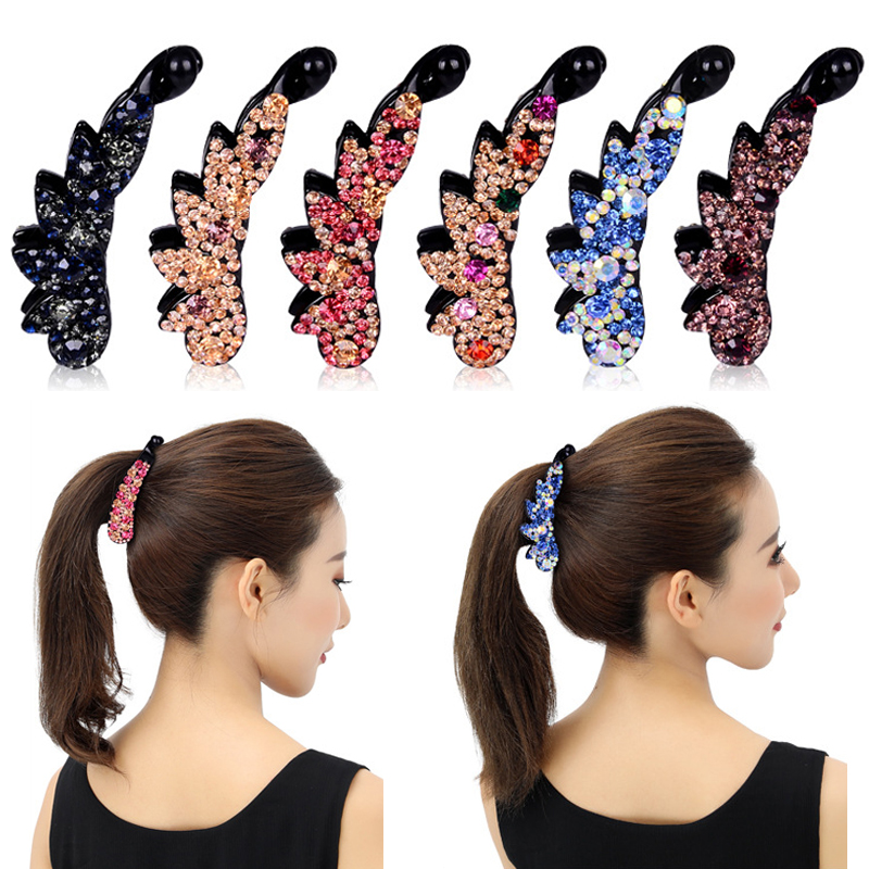 Hot Sale Ladies Bow Hair Claw Clip Multicolor Korean Crystal 12 Colors Flower Banana Hair Clip Wedding Colours Candy Color 1PC