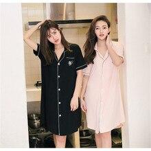 Algodão camisa do sono verão solto camisola das mulheres mini sleepwear  sleepwear camisola de manga curta casual vestido de casa. 24afe9c14