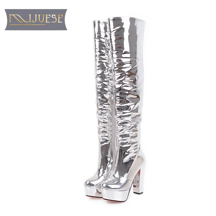MLJUESE 2018 women over the knee high boots silver color platform Hoof heels fashion nightlife high