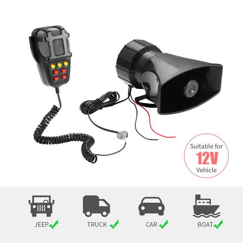 Car-Siren-Horn Speaker-System Sound-Car Emergency-Amplifier Hooter 100W Mic 12V PA