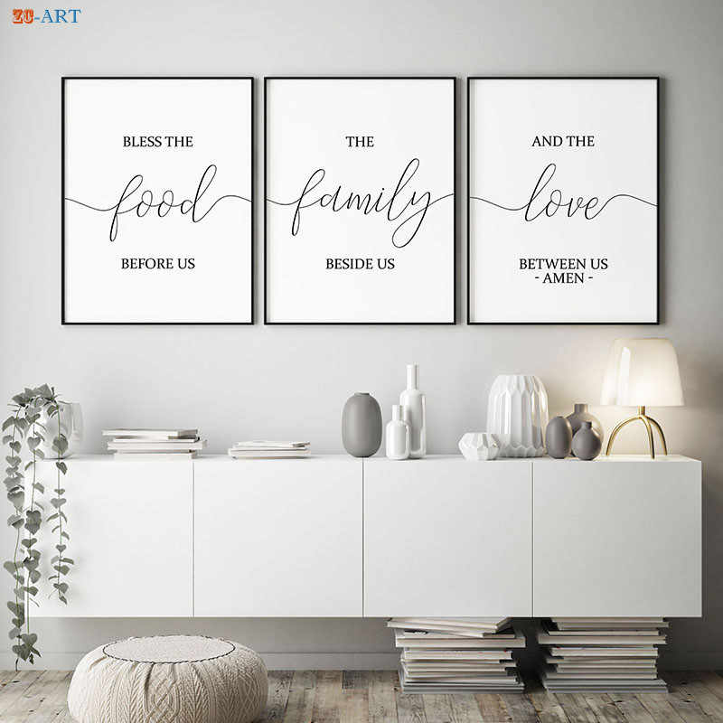 Bible Verse Canvas Painting Signs Print Quotes Poster Kitchen Wall Art Wall  Pictures for Living Room Dining Room Decor