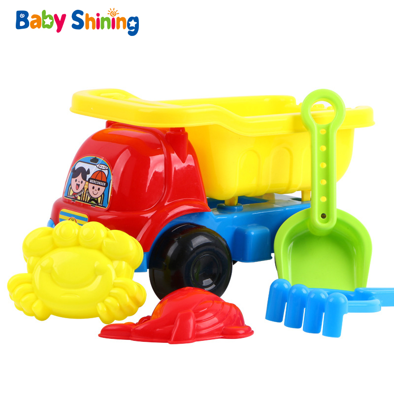 Baby Shining Beach Sand Pool Toys Beach Toy Set 5-14PCS Children's Household Eco-friendly Material Sand Digging Toys