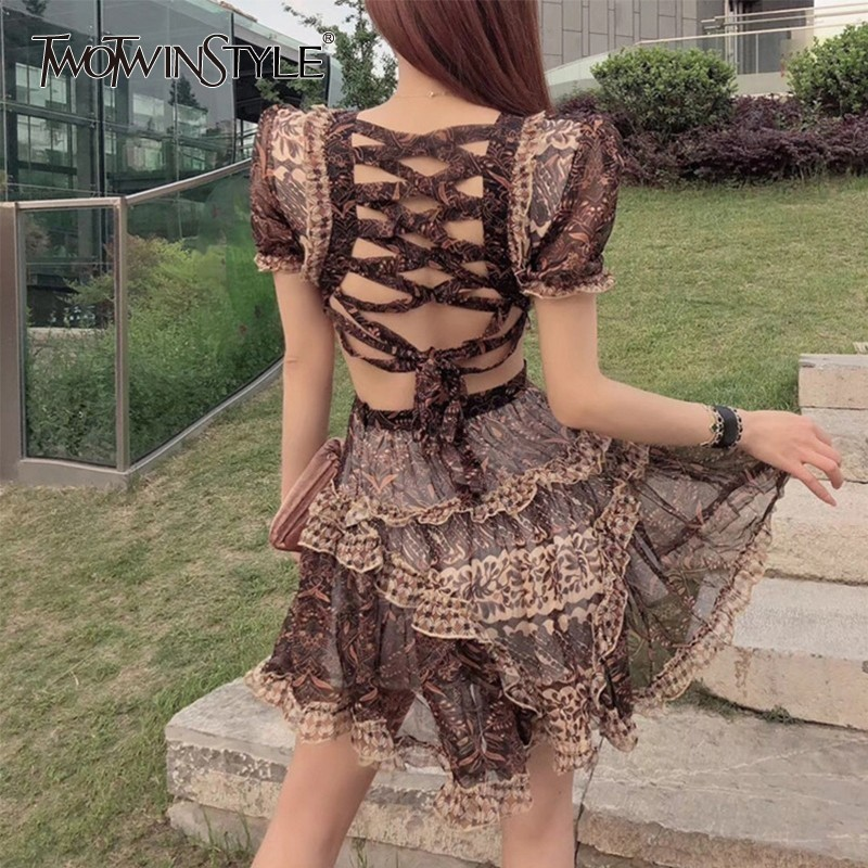 TWOTWINSTYLE Summer Print Sexy Women Dress V Neck Short Sleeve High Waist Hollow Out Bandage Mini