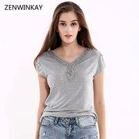 Summer 2017 Women Loose T Shirt Women S Short Sleeve T Shirt Female Nail Bead Tshirt