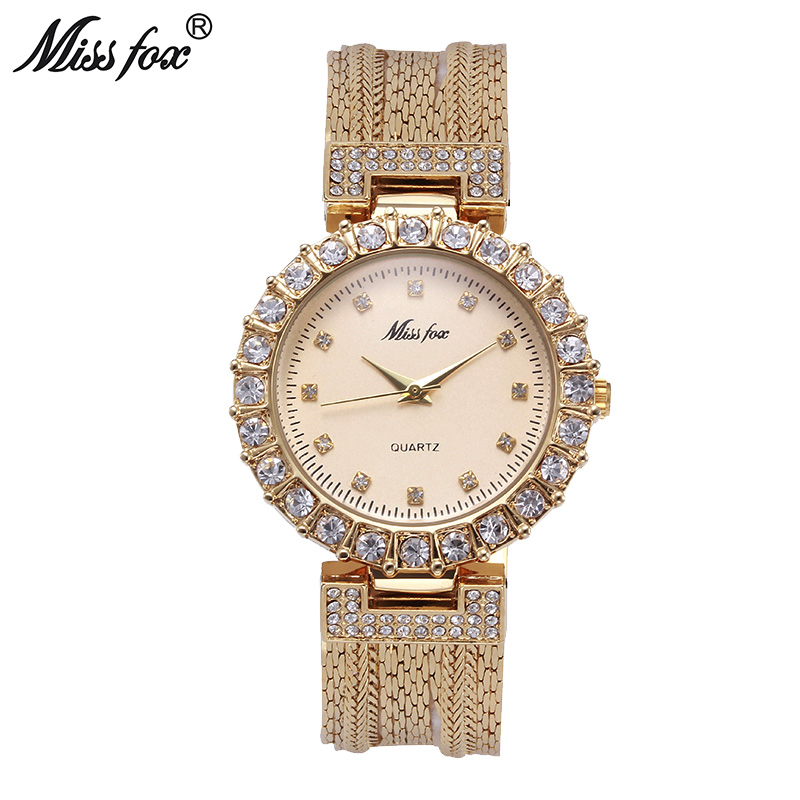 цены Miss Fox Gold Watch Fashion Brand Rhinestone Water Resistant Steel Mesh Sobretudo Feminino Japan Quartz Movement Women Watches