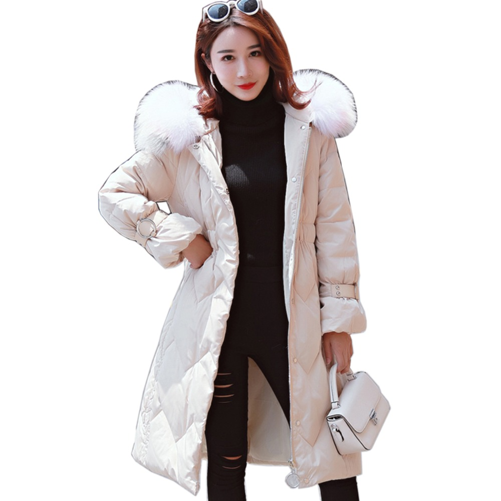 Snow Winter White duck   down     Coat   Women Thick Warm   Down   Parka Large Fur Collar Hooded   Down   Jackets Medium Long Fashion Outwear