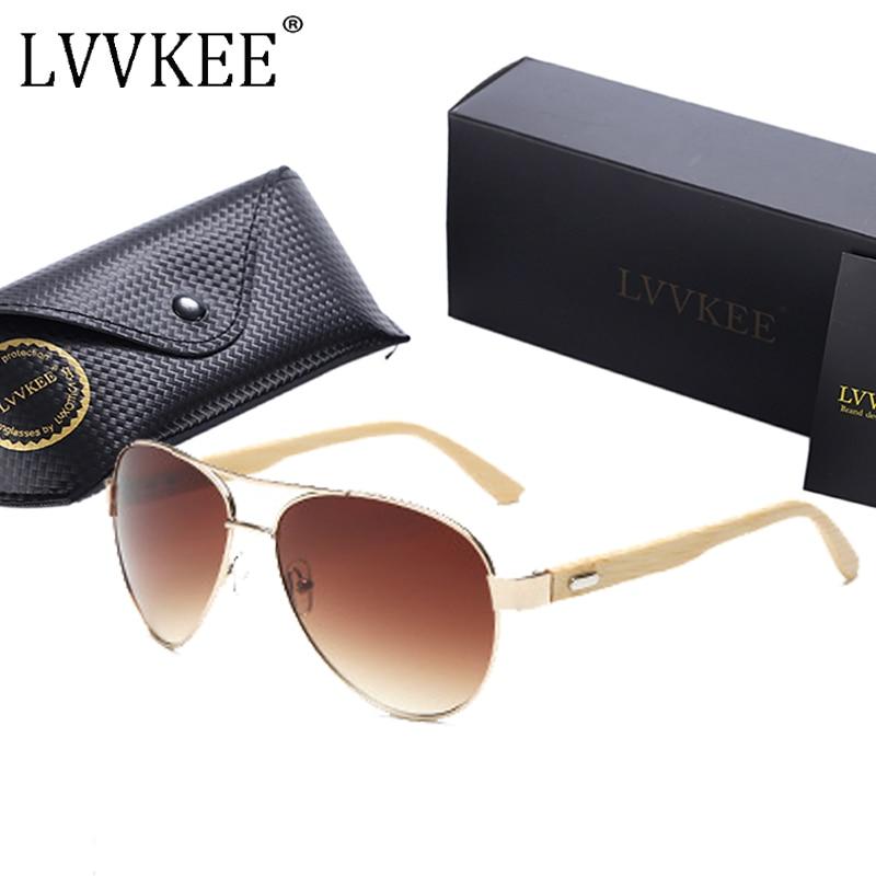 LVVKEE marca Aviation Bamboo Gafas de sol 60mm lente marrón Hombres Mujeres Piloto Gafas de sol Hombre dama UV400 Gafas gafas oculos de sol