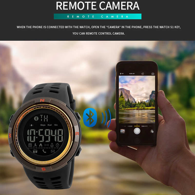 Smart Watch For IOS Android Men Sport Watch Calorie Pedometer Remote Digital Men's Smartwatch Reloj inteligente SKMEI