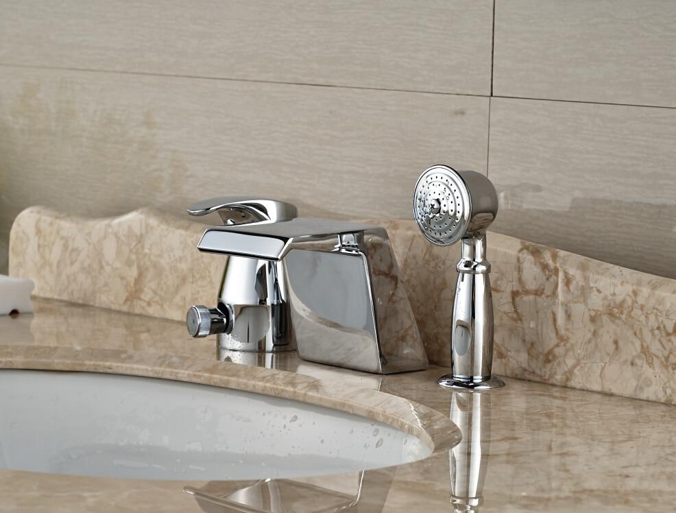 Modern Chrome Brass Bathroom Basin Deck Mounted Sink Faucet Waterfall Mixer tap With Hand Shower 3PCS luxury antique brass bathroom waterfall basin faucet sink mixer deck mounted 3pcs