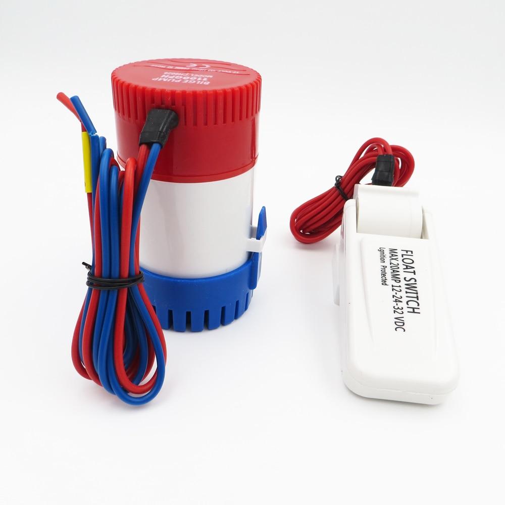 1 set x 750GPH 12Vdc bilge pump + bilge switch, submersible boat water pump, electric pump for boats все цены