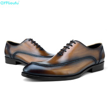 цены QYFCIOUFU Genuine Leather Formal Men Shoes Business Dress Shoes High Quality Italian Handmade Luxury Designers Oxfords Work Shoe