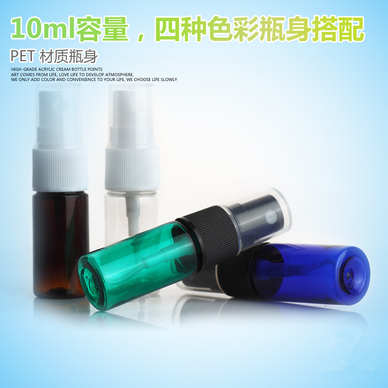 100ps Wholesale 10ml Empty Spray Bottle Assorted Color Plastic Atomizer Travel Wake Perfume Mist Packaging Sample
