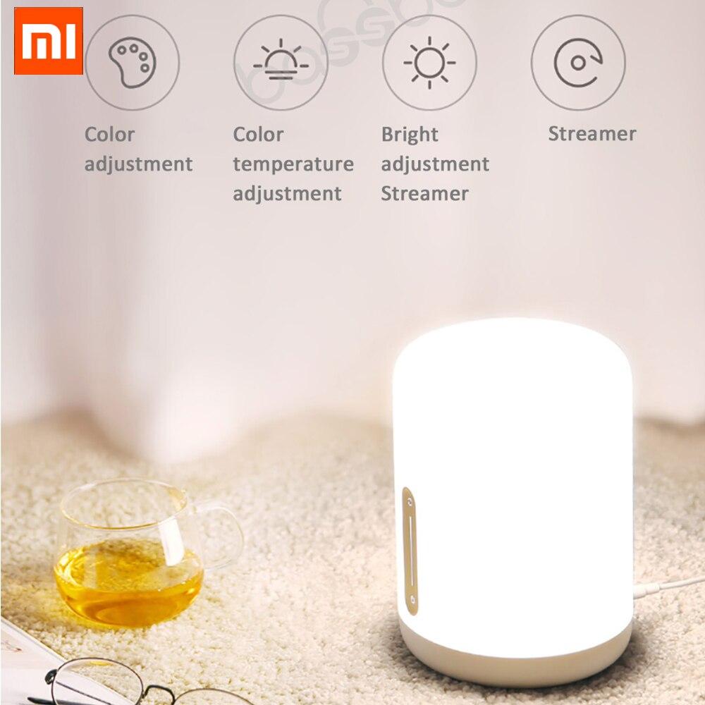 Xiaomi Mijia lampe de chevet 2 Smart Table LED nuit Bluetooth WiFi panneau tactile contrôle mihome APP lumière LED pour Apple HomeKit Siri-in Télécommande connectée from Electronique    1