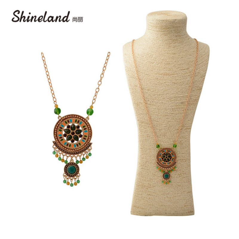 Shineland Ethnic bohemian jewelry gold color chain colorful resin beads pendants vintage long necklace for women new 2018 bijoux