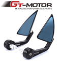 GT Motor - Motorcycle CNC Aluminum Rearview trigon Mirror Handle bar End Black Side Mirror