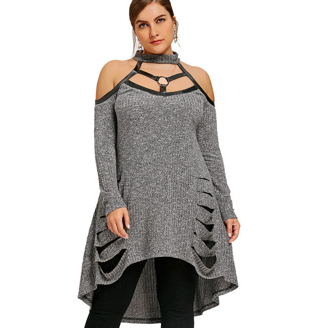 79f367c1fa7 Kenancy Women Long Shirts Plus Size Cold Shoulder Ripped Tunic Top Women  Blouses Long Sleeve Asymmetrical Loose Tops Blusas