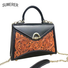 Women Genuine Leather bags 100% handmade carving Luxury cowhide women designer tote leather handbags