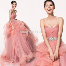 Really Images Lace Up Wedding Dresses A Line Sweetheart Pleats Rhinestone Ruffle Bridal Gowns yk1A511