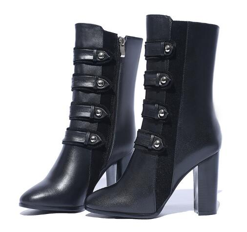 Black round toe zipper super high chunky heel short boots for ladies Women winter thickening ankle boots Female dress shoes стоимость