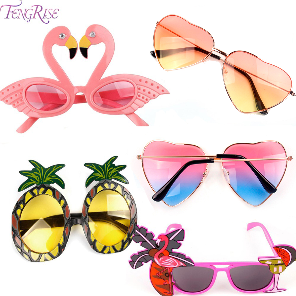 FENGRISE Beach Party Novelty Flamingo Party Decorations Bryllup Dekor Ananas Solbriller Hawaiian Funny Glasses Event Supplies