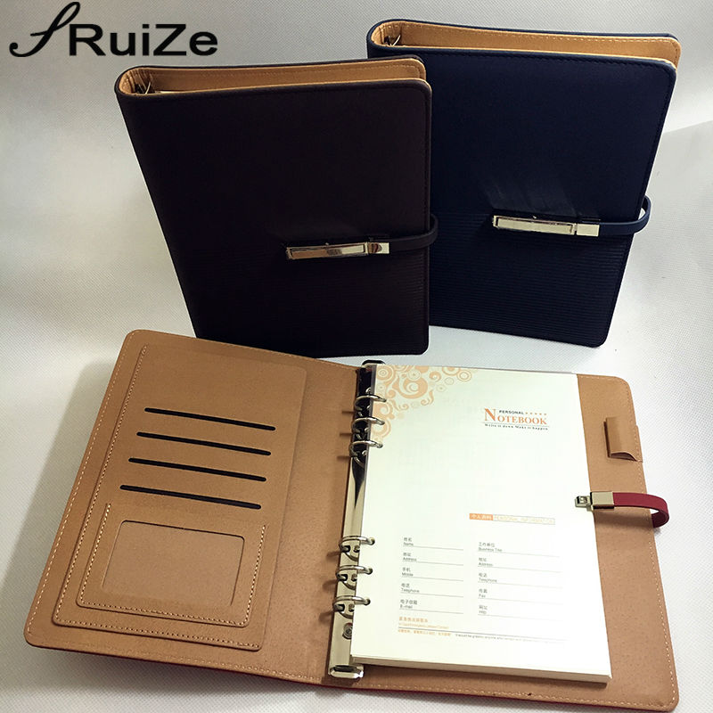RuiZe 2017 pu leather spiral notebook A5 loose leaf notebook planner organizer note book for office business stationery gift купить недорого в Москве