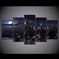5 Pieces Harry Potter School Castle Hogwart Printed Painting Modern Canvas Wall Art Painting Unframed For