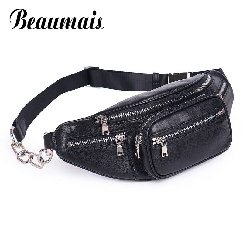 Beaumais Genuine Leather Waist Bag Women Waist Pack Waist Bag Funny Pack Belt Bag Women Men Chain Waist Bag For Phone DF0301 dancer feather faux pearl waist belt chain