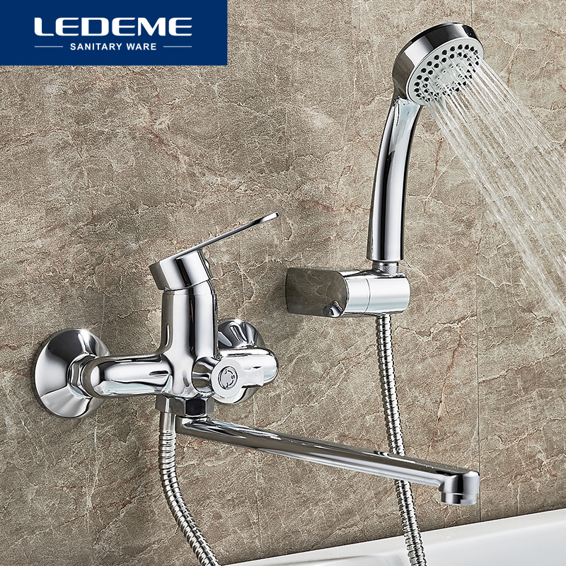 LEDEME Bathroom Bathtub Faucet 1 set Chrome Plated Outlet Pipe Bath Shower Bathtub Faucets Surface Brass Faucets Head L2210 ledeme chrome plated bathroom bathtub faucets mixer shower set tap with hand brass bathroom bathtub faucet shower head set l2049