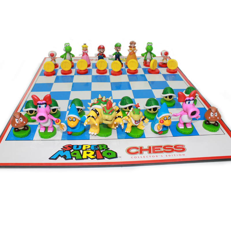 BSTFAMLY Supermario series chess set game, portable game of international chess , plastic chessboard and chess pieces , LA45 chess and mathematical thinking