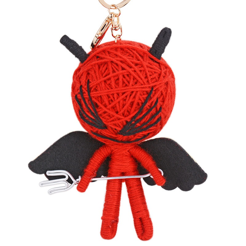 New Pure Hand Knitting Voodoo Doll Keychain Curse Doll Keyrings for Bag Purse Schoolbag Charm Pendant Car Key Chain