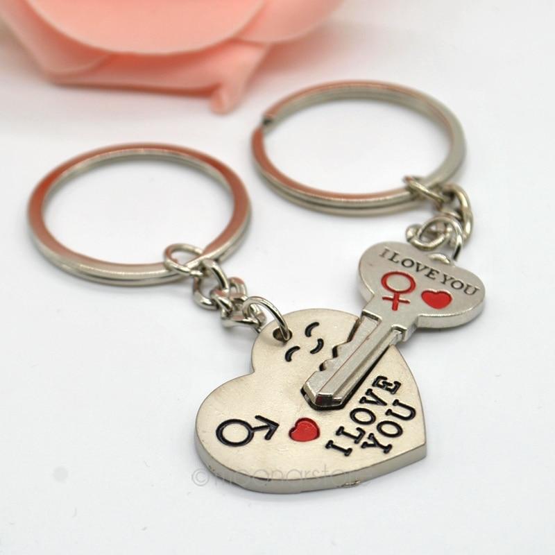 Cute Arrow /& Love You Heart /& Key Couple Chain Ring Keyring Keyfob Lover Gift
