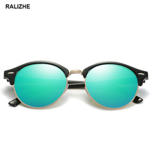 RALIZHE Fashion Men Women Popular Brand Designer Retro Polarized Sunglasses Vintage Round Sun Glasses Flash Green UV400 Lenses