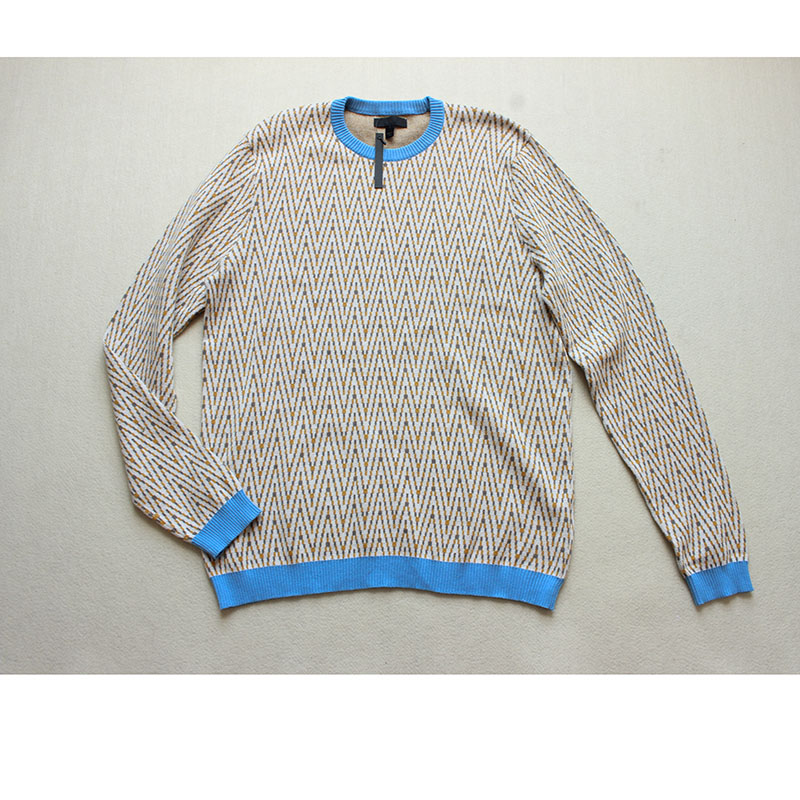 beige white patchwork geometric pullovers fashion knitted sweater for men