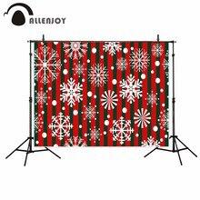 Allenjoy photography background Red green stripes Snowflakes pattern Christmas backdrop photo studio camera fotografica