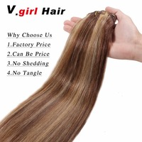 V.girl 100g 14 26 Machine Made Remy Hair 7Pcs Set Clips In 100% Human Hair Extensions Full Head Set Straight hair 4/27# Color
