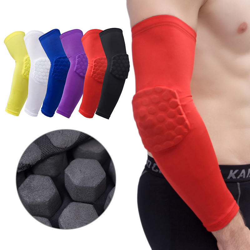 Outdoor Basketball Arm Protection Pad Honeycomb Design Anti-Collision Anti-Skid Long-Sleeved Protective Sleeve