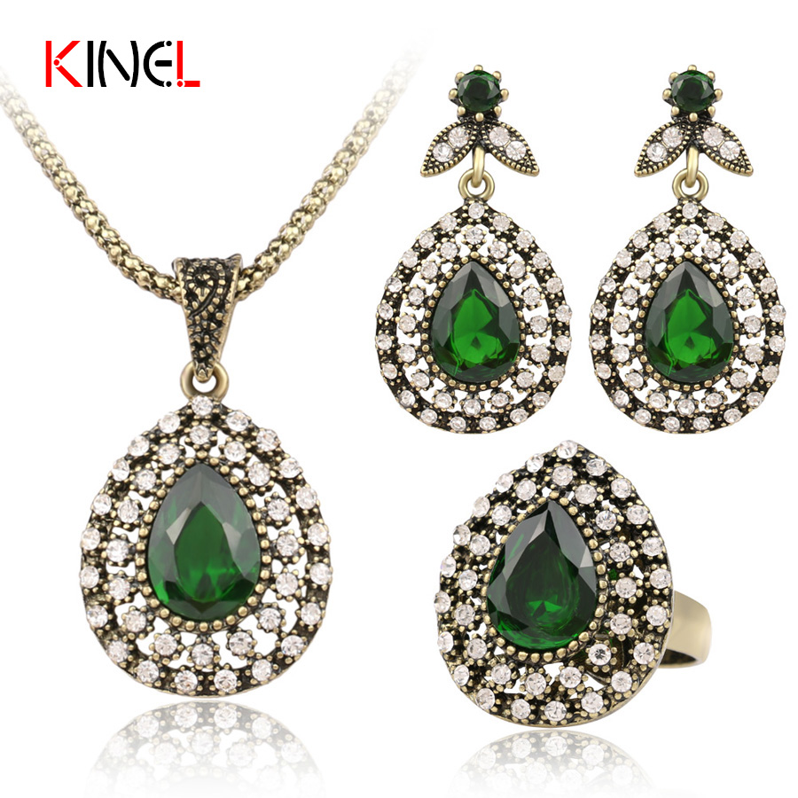 Turkish Crystal Jewelry Earrings And Necklace Ring For Women Nigerian Wedding African Beads 3Pcs/sets Jewelry Set