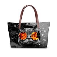 Customized Kawaii Printing Cat Handbag for Youth Women Hipster Ladies Travel Tote Bag Original Design Female Shoulder Bag