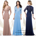 Бесплатная доставка Большой размер браун темно-синий матери платья для пляжа свадьбы длинные кружева мать невесты платье половина рукава