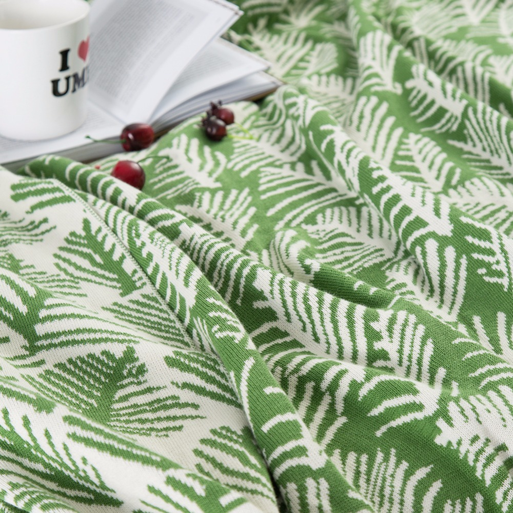 Green White Leaf Pattern 100% Cotton Bedding 1pcs Blankets Bedspread Blanket Manta Coral Flannel Sofa/Couch Bed/Plane Travel - 4