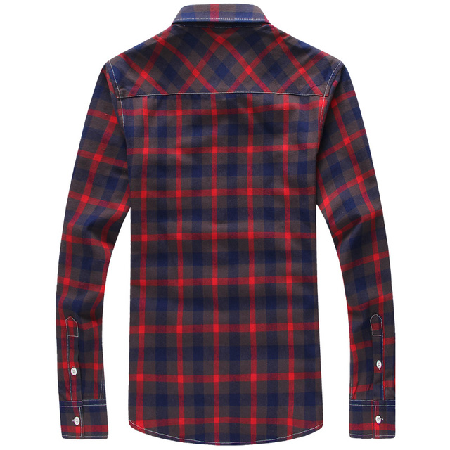 Men's Plus Size Cotton Check Shirt