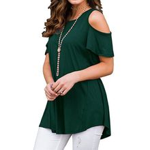 Women Plus Size Short Sleeve Cold Shoulder Tunic Tops Solid Color Crew Neck Pullover Loose T-Shirt Flowy Irregular Casual cold shoulder flower print tunic t shirt