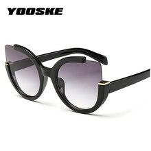 c6369973910f2f YOOSKE Sexy Cat Eye lunettes de Soleil Femmes Marque Designer Miroir  Lunettes de Soleil Dames Ronde Objectif Shades pour les Fem.